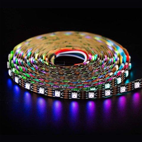 Світлодіодна стрічка RGB SMD5050, WS2815 (чорна, з управлінням, IP20, 12 В, 30 діодів/м, 1 м) Прев'ю 1
