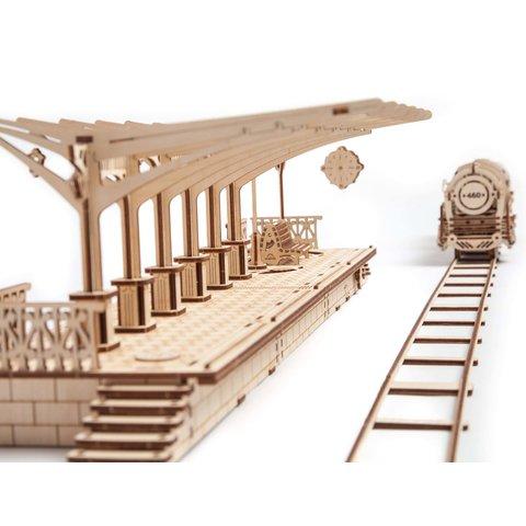 Mechanical 3D Puzzle UGEARS Railway Platform Preview 4